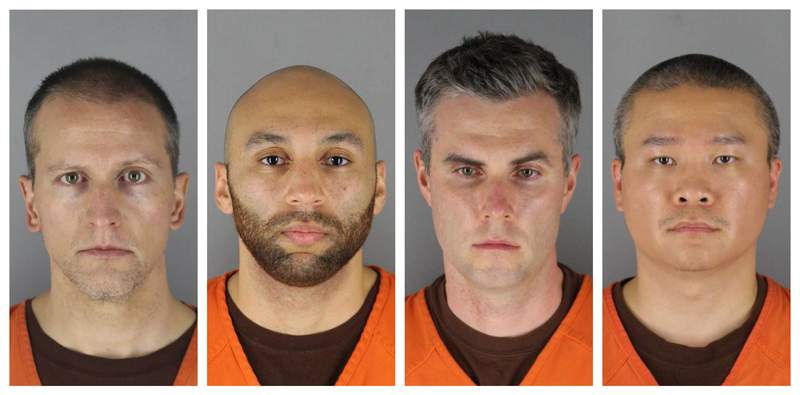 FILE - This combination of photos provided by the Hennepin County Sheriff's Office in Minnesota on June 3, 2020, shows from left, former Minneapolis police officers Derek Chauvin, J. Alexander Kueng, Thomas Lane and Tou Thao.  Chauvin, who held his knee to the neck of George Floyd for several minutes, will be tried separately from three other former officers accused in his death, according to scheduling orders filed Tuesday, Jan. 12, 2021.  (Hennepin County Sheriff's Office via AP, File)