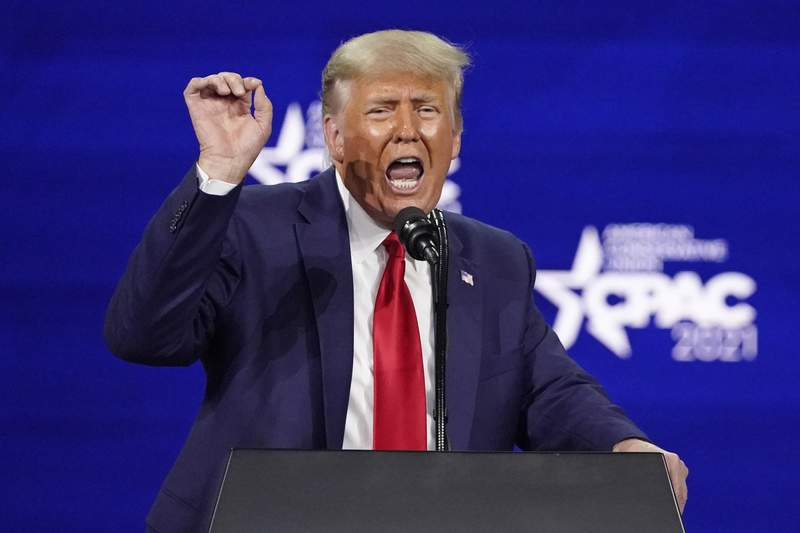 Former President Donald Trump speaks at the Conservative Political Action Conference (CPAC), Sunday, Feb. 28, 2021, in Orlando, Fla. (AP Photo/John Raoux)