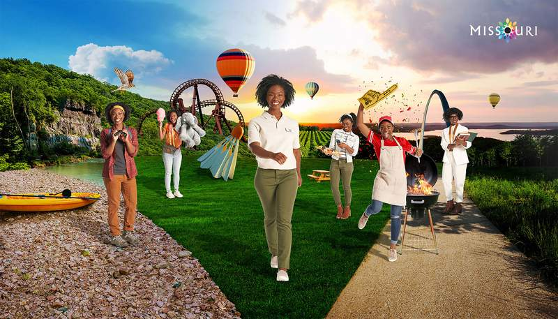 This undated Missouri Division of Tourism ad shows Ashley Santana, a St. Louis-based actress, model and soprano playing a character named Mo for a campaign released Monday, March 15, 2021. Nearly four years after the NAACP warned travelers that their civil rights may not be respected if they visit the state, a Black woman has become the face of Missouri's tourism campaign. (Missouri Division of Tourism via AP).