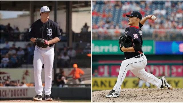 Detroit Tigers pitching prospects Casey Mize (left) and Matt Manning (right). (WDIV/Getty Images)