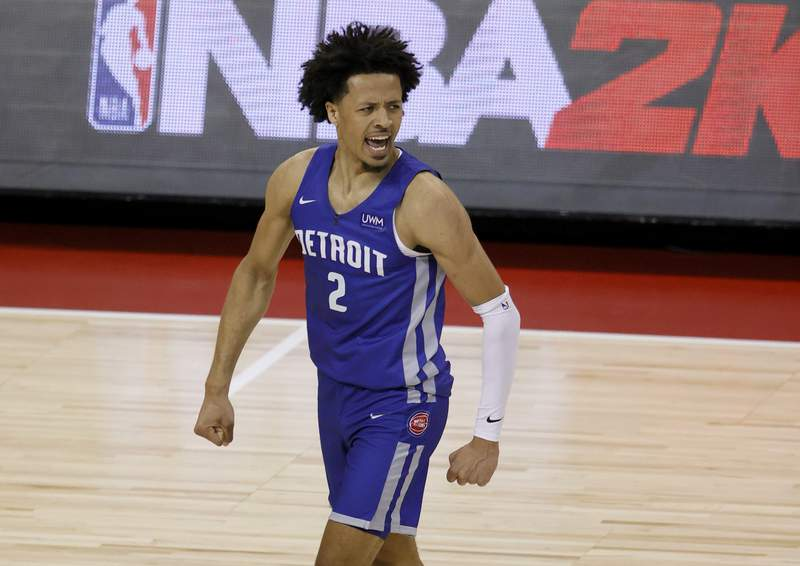LAS VEGAS, NEVADA - AUGUST 10:  Cade Cunningham #2 of the Detroit Pistons reacts on the court after a play against the Houston Rockets during the 2021 NBA Summer League at the Thomas & Mack Center on August 10, 2021 in Las Vegas, Nevada. The Rockets defeated the Pistons 111-91. NOTE TO USER: User expressly acknowledges and agrees that, by downloading and or using this photograph, User is consenting to the terms and conditions of the Getty Images License Agreement. (Photo by Ethan Miller/Getty Images)