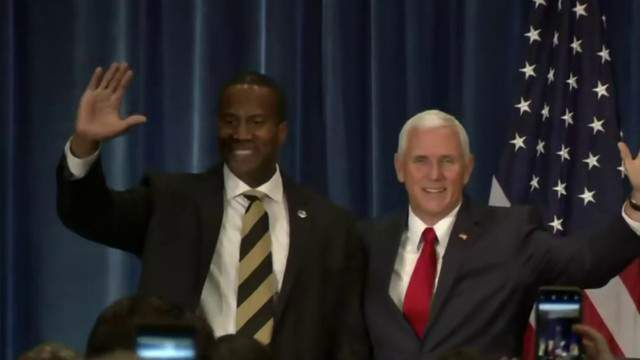 Vice President Mike Pence with John James in West Bloomfield, Mich. (WDIV)
