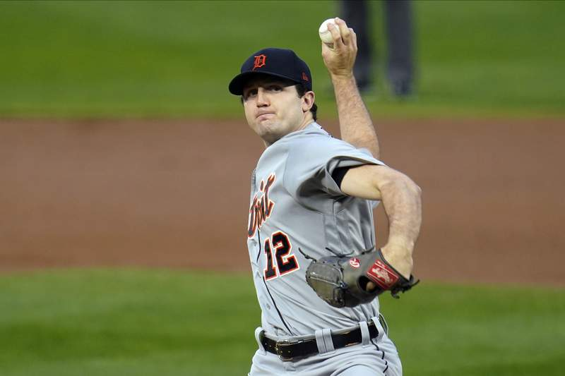 Detroit Tigers pitcher Casey Mize throws to a Minnesota Twins batter during the first inning of a baseball game in Minneapolis.(AP Photo/Jim Mone, File)