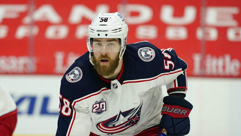Columbus Blue Jackets defenseman David Savard plays during the first period of an NHL hockey game, Saturday, March 27, 2021, in Detroit. (AP Photo/Carlos Osorio)