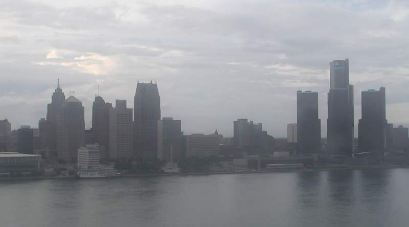View of Detroit from the Windsor sky camera on Aug. 30, 2020 at 7:58 p.m.