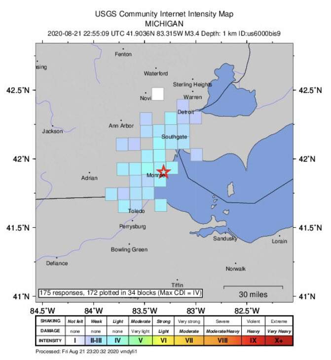 The United States Geological Survey (USGS) reported a 3.4 magnitude earthquake Aug. 21, 2020 near Monroe County, Mich.