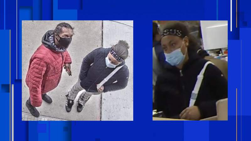 Detroit police are searching for two people in connection with a robbery at a computer store on the city's west side. The incident occurred on Tuesday, Dec. 29, 2020.