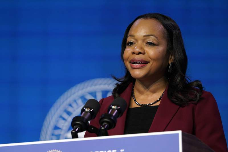 Assistant Attorney General for the Civil Rights Division nominee Kristen Clarke speaks during an event with President-elect Joe Biden and Vice President-elect Kamala Harris at The Queen theater in Wilmington, Del., Thursday, Jan. 7, 2021. (AP Photo/Susan Walsh)