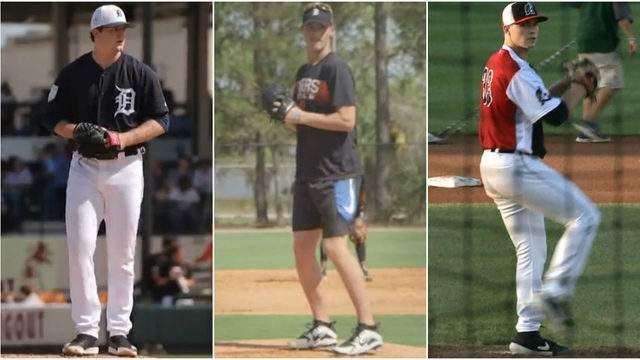 Detroit Tigers pitching prospeects Casey Mize (left), Matt Manning (center) and Tarik Skubal (right). (WDIV)