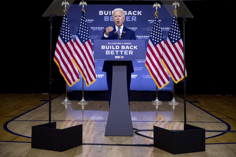 """FILE - In this July 28, 2020, file photo, Democratic presidential candidate former Vice President Joe Biden speaks at a campaign event at the William """"Hicks"""" Anderson Community Center in Wilmington, Del. Bidens latest gaffes concerning Black Americans risk exacerbating his challenges with young Black voters who have been more skeptical of him than their older counterparts. (AP Photo/Andrew Harnik, File)"""