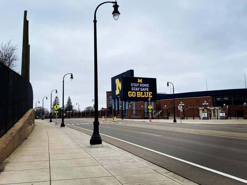 Days of coronavirus: An empty Stadium Blvd. in Ann Arbor near The Big House.