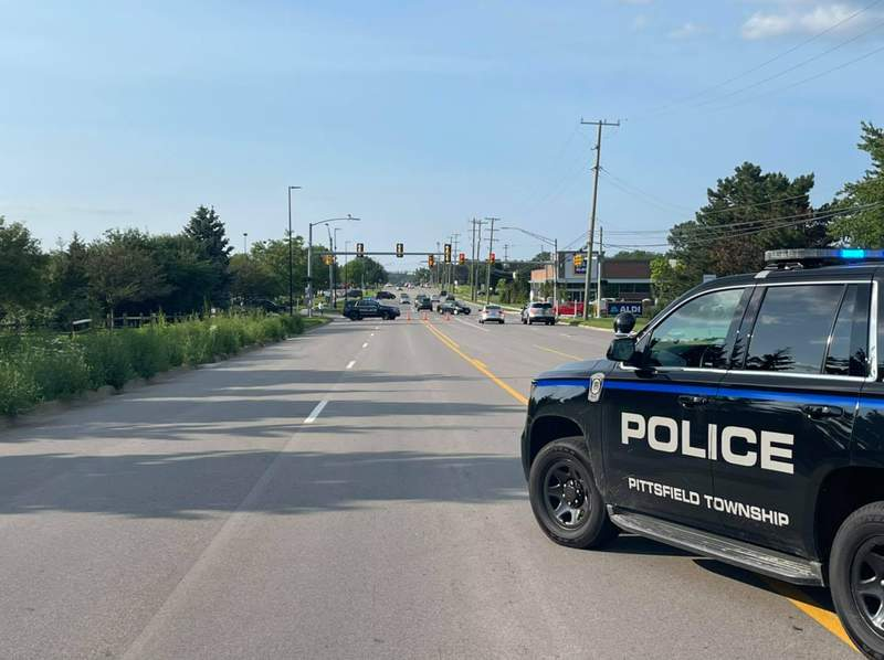 Pittsfield Township police investigating a collision on July 17, 2021.