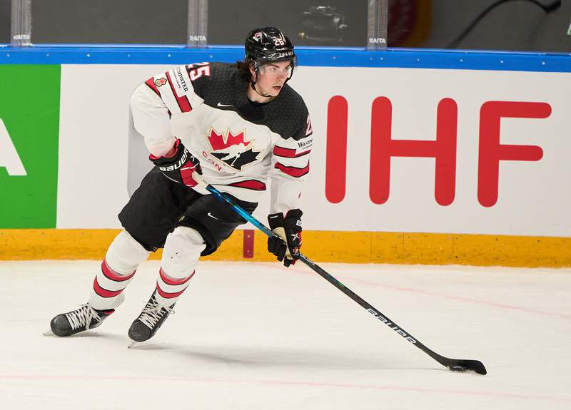 RIGA, LATVIA - MAY 30: Owen Power #25 of Canada  in action during the 2021 IIHF Ice Hockey World Championship group stage game between Italy and Canada at Arena Riga on May 30, 2021 in Riga, Latvia. Canada defeated Italy 7-1. (Photo by EyesWideOpen/Getty Images)