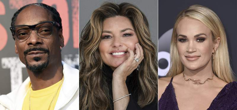 This combination photo shows, from left, Snoop Dogg, Shania Twain and Carrie Underwood who will host radio shows on Apple Music. The streaming service announced that it will debut two new radio stations Tuesday: Apple Music Hits, focused on popular songs of the 80s, 90s and 2000s, as well as Apple Music Country, dedicated to the country music genre. Both channels will have daily on-air hosts but will also include several shows hosted by well-known musicians. (AP Photo)