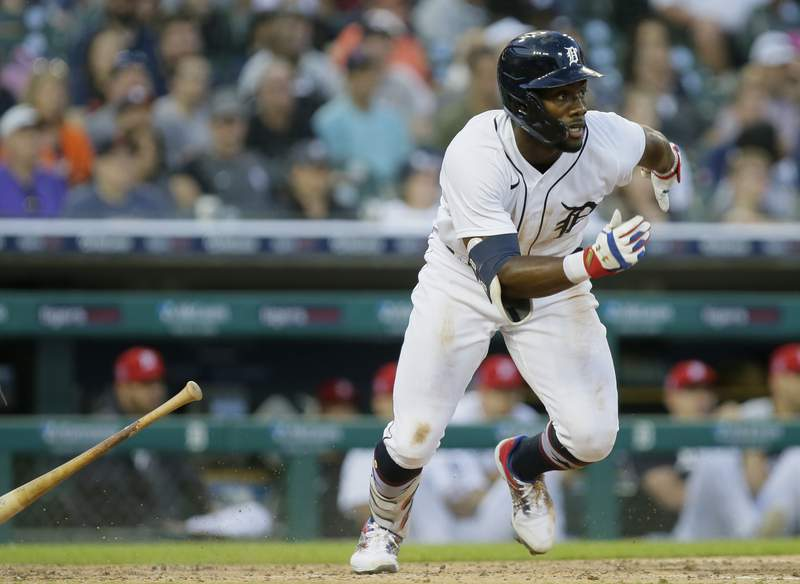 Akil Baddoo #60 of the Detroit Tigers singles against the Chicago White Sox during the fifth inning at Comerica Park on July 2, 2021 in Detroit, Michigan.