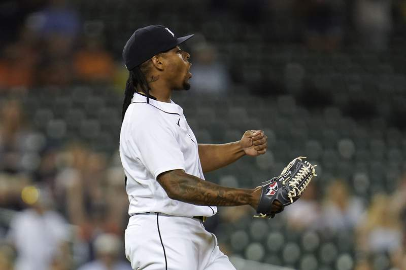 Detroit Tigers pitcher Gregory Soto reacts the the final out in the ninth inning of a baseball game against the Boston Red Sox in Detroit, Tuesday, Aug. 3, 2021. Detroit won 4-2.