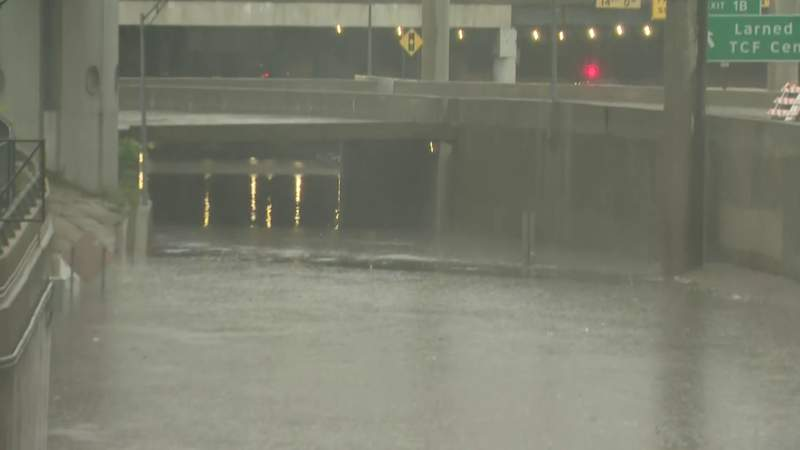 Flooding in the northbound lanes of the Lodge Freeway at Jefferson Avenue on July 16, 2021.
