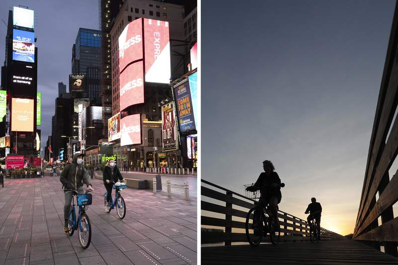 This combination of photos shows people riding bicycles in New York's Times Square, left, on April 29, 2020, and in Gulf State Park in Gulf Shores, Ala., March 12, 2020, during the coronavirus pandemic. The human loss from the pandemic isnt going to be reflected in the U.S. population count used for divvying up congressional seats among the states. And that could save a congressional seat for New York but cost Alabama one. (AP Photo)