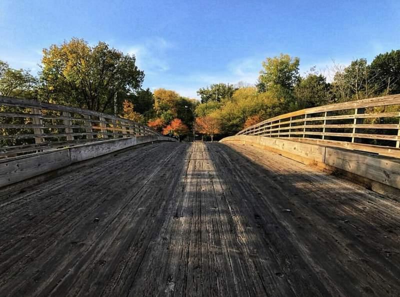 Wooden vehicle bridge at Gallup Park in Ann Arbor.