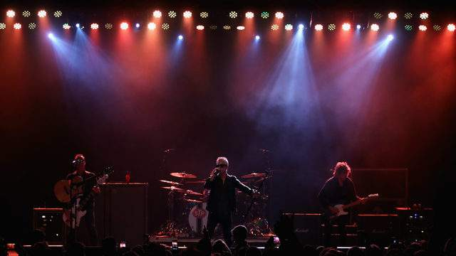 TEMPE, AZ - MARCH 10: Singer Jeff Gutt (C), guitarist Dean DeLeo (R), bass player Robert DeLeo (L) and drummer Eric Kretz of Stone Temple Pilots perform at Marquee Theatre on March 10, 2018 in Tempe, Arizona. (Photo by Christian Petersen/Getty Images)