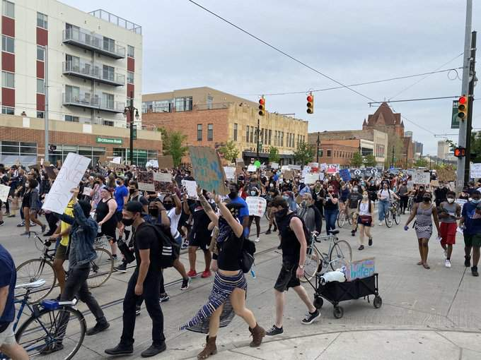 Protesters take to Woodward Avenue in Detroit on June 4, 2020.