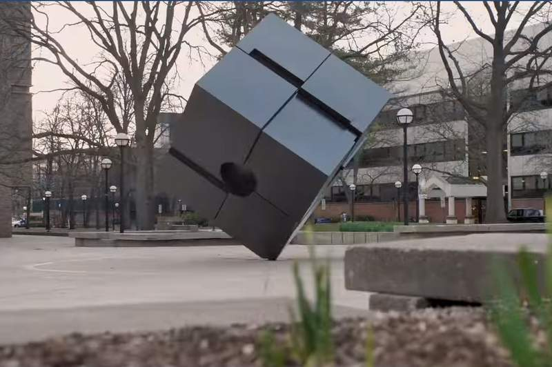'The Cube' is motionless in the video portraying an empty U-M campus.
