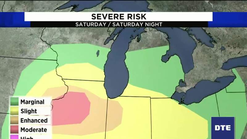 Severe weather risk this weekend in Detroit