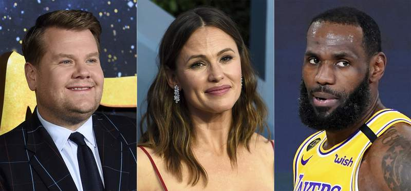 This combination of photos shows actor-TV host James Corden, from left, actress Jennifer Garner and NBA basketball player LeBron James, who have received nominations for this year's Webby Awards, recognizing the best internet content and creators. (AP Photo)