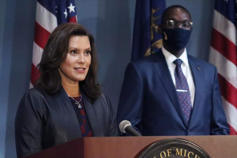 FILE - In this Wednesday, Sept. 2, 2020 file photo provided by the Michigan Office of the Governor, Gov. Gretchen Whitmer addresses the state during a speech in Lansing, Mich. (Michigan Office of the Governor via AP, File)