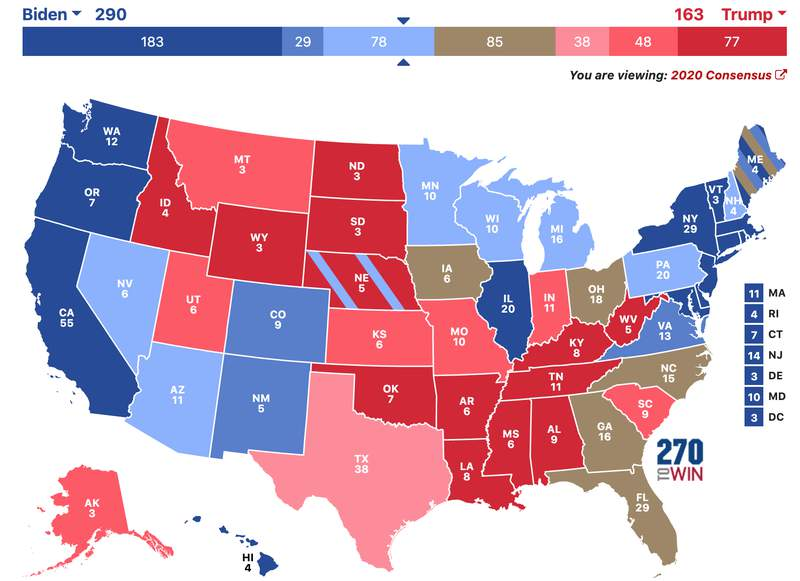 A map showing test results for the 2020 Electoral College -- 270towin.com