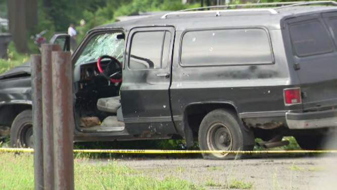 A photo of the black truck that was targeted in the shooting.