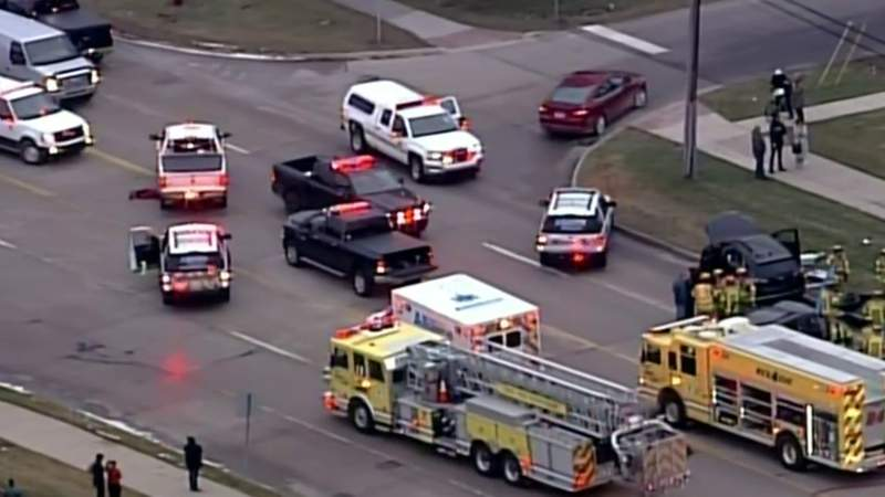 Emergency vehicles respond to a deadly crash on John R Road near Orpington Drive on Jan. 14, 2020 in Troy, Mich.