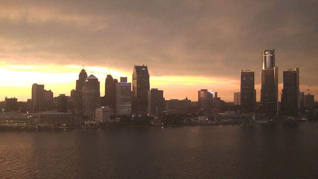 View of Detroit from the Windsor sky camera at 9 p.m. on July 19, 2019. (WDIV)
