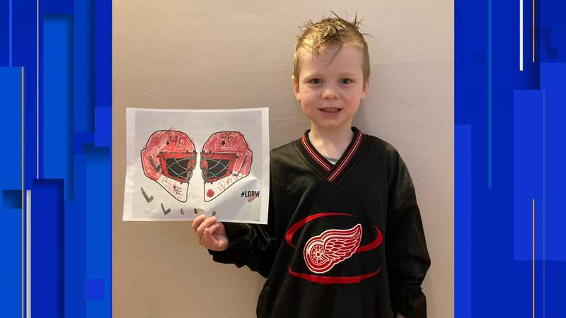 5-year-old Drew McCarty was named winner of the #MIKidsCan Detroit Red Wings helmet design contest. Photo credit: Detroit Red Wings and Blue Cross Blue Shield of Michigan
