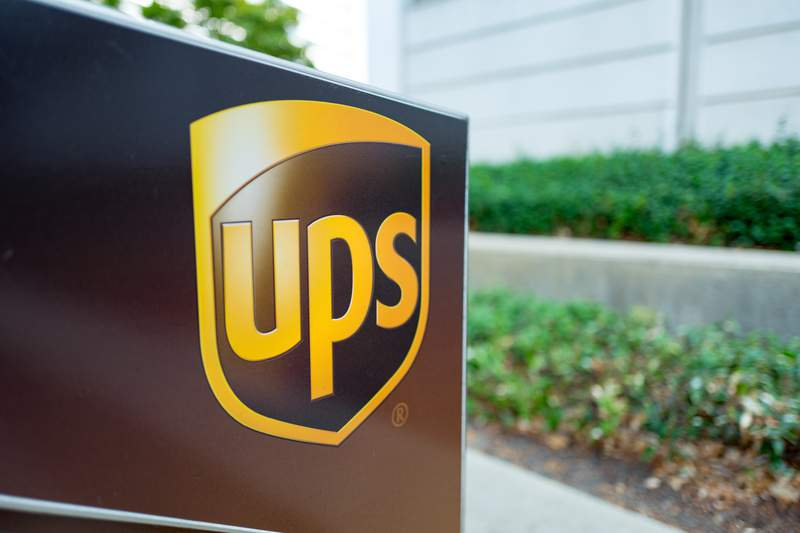 A close-up of the logo for United Parcel Service (UPS).