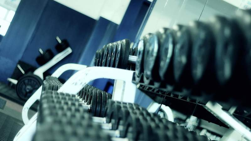 Dumbbells at a gym.