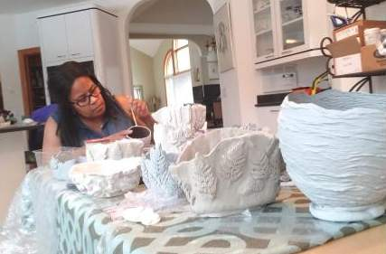 Paula's kitchen ceramics studio, Feb. 2021.