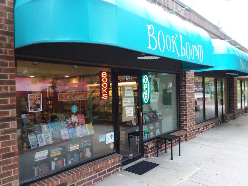 Bookbound Bookstore is at 1729 Plymouth Rd in Ann Arbor, Michigan.