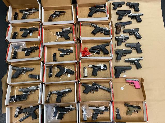 The Oakland County Sheriff's Office announced that its two Directed Patrol Units based in Pontiac took 28 handguns and four rifles off the city's streets in May and June.