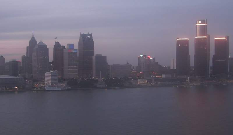 View of Detroit from the Windsor sky camera on Sept. 11, 2020 at 8:03 p.m.
