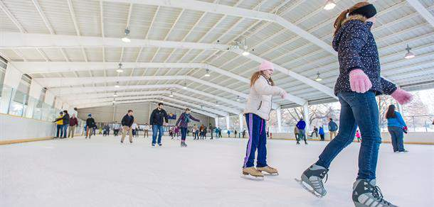 Skaters enjoy Buhr Park Outdoor Ice Arena. This photo was taken before the coronavirus pandemic.