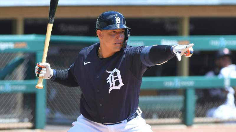 Miguel Cabrera #24 of the Detroit Tigers looks on and points while batting during the Detroit Tigers Summer Workouts at Comerica Park on July 11, 2020 in Detroit, Michigan.