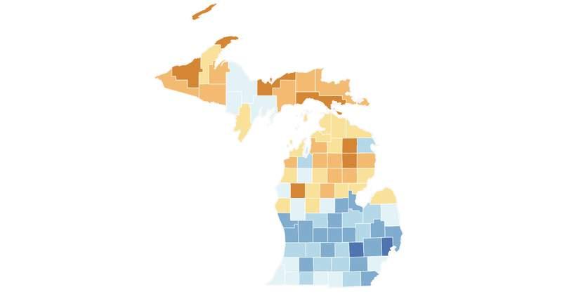 Michigan Census response map on April 25, 2020.