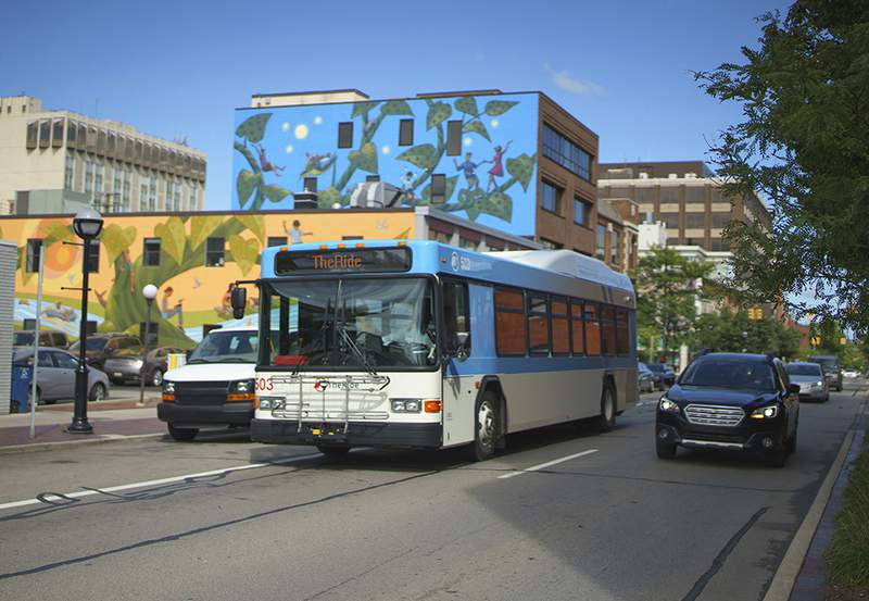 A TheRide bus in downtown Ann Arbor.