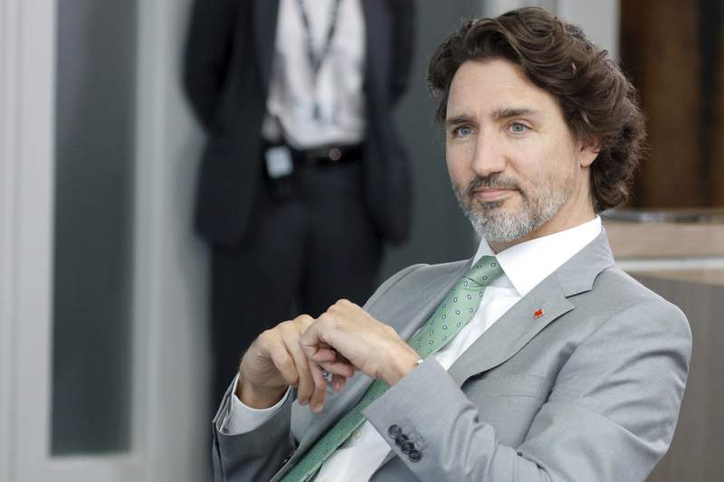Canadian Prime Minister Justin Trudeau attends a plenary session during the G7 summit in Carbis Bay, southern England, Sunday June 13, 2021. (Phil Noble/Pool via AP)