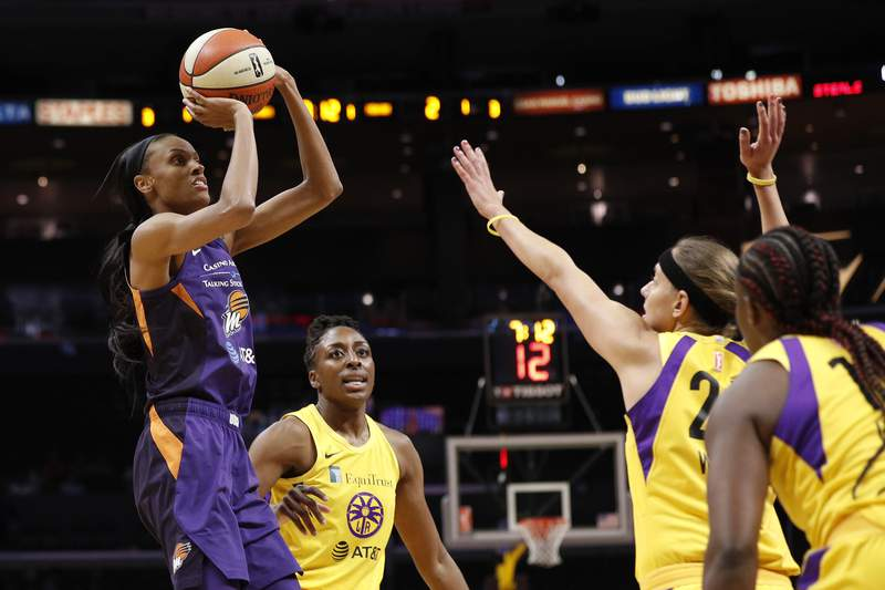 LOS ANGELES, CALIFORNIA - AUGUST 08: Forward DeWanna Bonner #24 of the Phoenix Mercury takes a shot in the game against the Los Angeles Sparks at Staples Center on August 08, 2019 in Los Angeles, California. NOTE TO USER: User expressly acknowledges and agrees that, by downloading and or using this photograph, User is consenting to the terms and conditions of the Getty Images License Agreement. (Photo by Meg Oliphant/Getty Images)