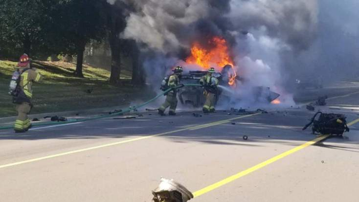 Fire crews were sent to crash and vehicle fire on Monday at 5 p.m. on North Adams Road, north of Walton Boulevard.