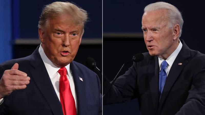 President Donald Trump (left) and former Vice President Joe Biden (right) debate in Nashville, Tenn., on Oct. 22, 2020.