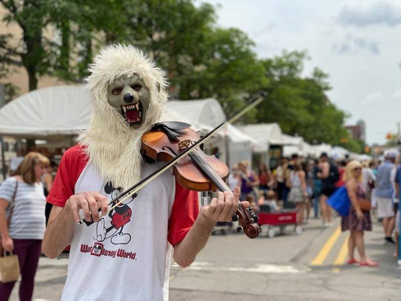 Ann Arbor's Violin Monster at the 2021 Ann Arbor Art Fair.
