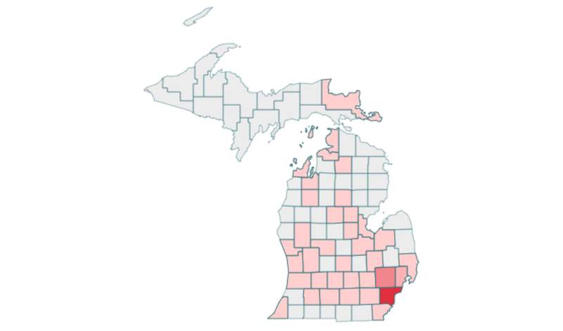 Michigan COVID-19 cases by county as of 2:30 p.m. March 23, 2020.
